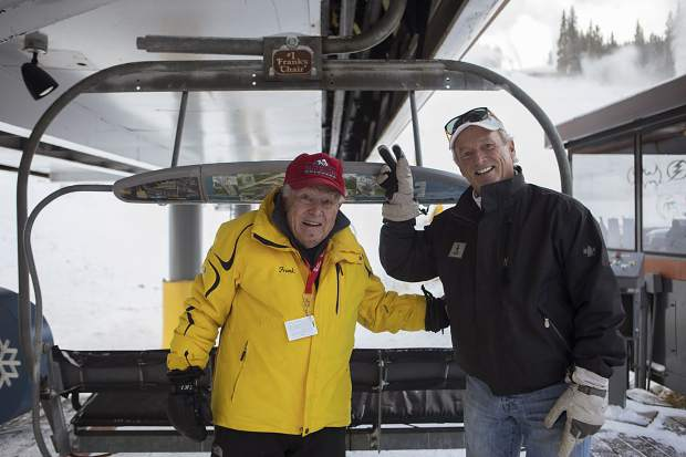 Frank Walter (left) and his son Larry. Frank, who's now 94 and has been skiing Copper for 44 years, sent off the first chair at Copper's opening day.