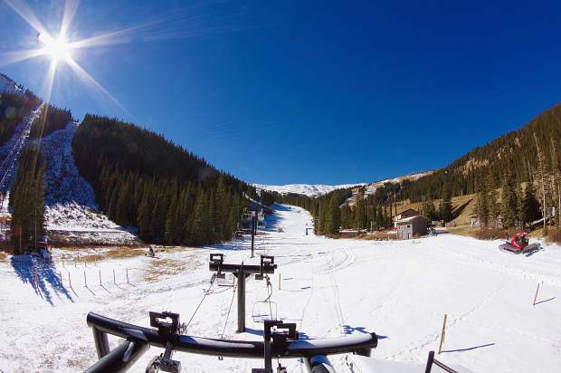 The view of the Loveland base area in early November after snowmaking crews finished blowing snow on the final stretch of Home Run. After a warm October, the ski area is scheduled to open today with top-to-bottom skiing and riding off of Chair 1.
