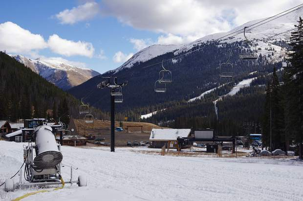 A snowmaking gun sits at the base of Loveland Ski Area in early November. The opens today for the 2016-17 ski season with 18 inches of snow on Mambo, Catwalk and Home Run.