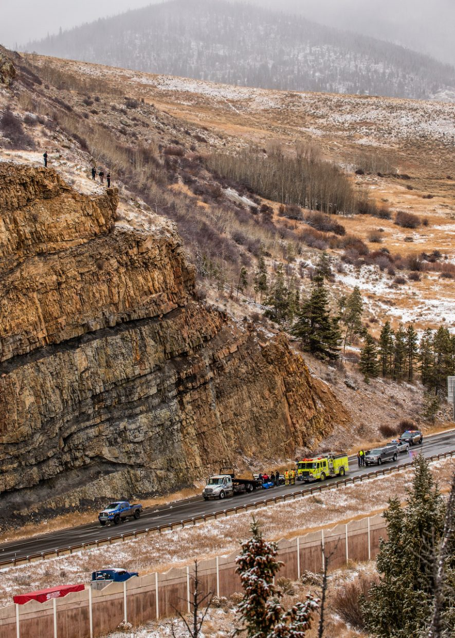 A driver was killed after tumbling from the cliffs on Ptarmigan Trail road and onto Interstate 70. The cause of the accident is still under investigation.