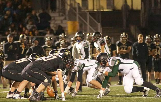 Summit football lines up against Battle Mountain during the final game of the season for both teams in Edwards on Nov. 4. The Tigers wn, 30-9, to snap a losing streak and end the season 3-7 overall.