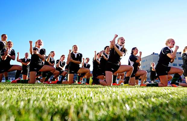 The Summit High School rugby performs the haka war dance after their 64-7 win over Chaparral at Infinity Park in Denver to claim their eighth straight state championship in 2015. The two Summit sevens teams travel back to Infinity Park on Nov. 12 to defend their titles in the state high school girl's rugby championships.