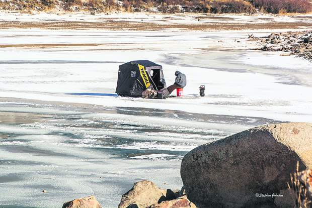 The first ice fisherman the photographer had seen at Summit Cove.