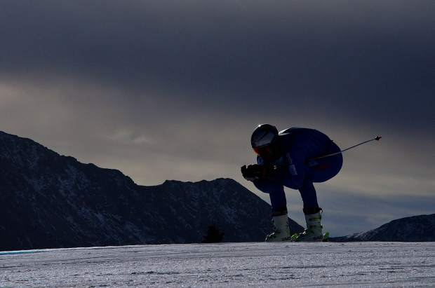 A ski racer tucks through the top section of the U.S. Ski Team Speed Center at Copper Mountain in mid-November.