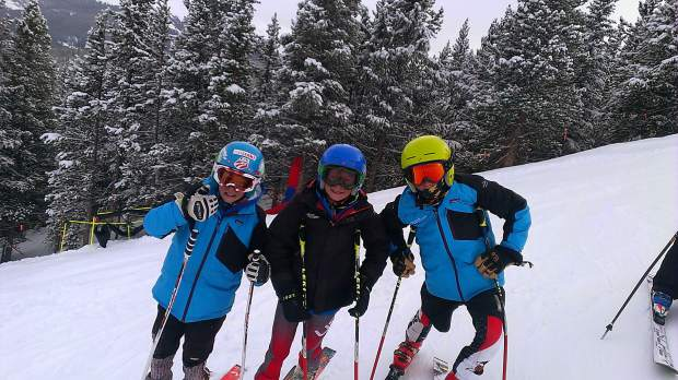 Team Breckenridge alpine skiers Carson Hume (middle) and Jack Cronin (right).
