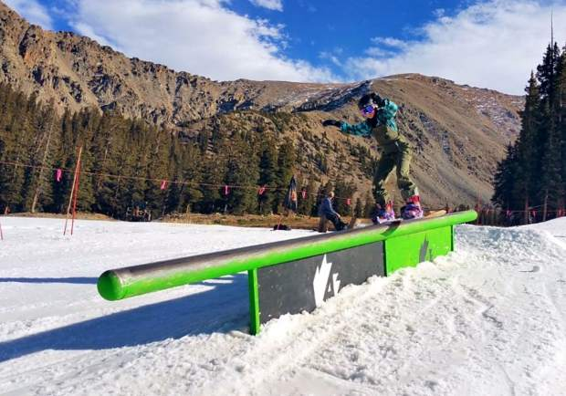 Team Summit's Ellie Duchow with a boardslide at Arapahoe Basin.