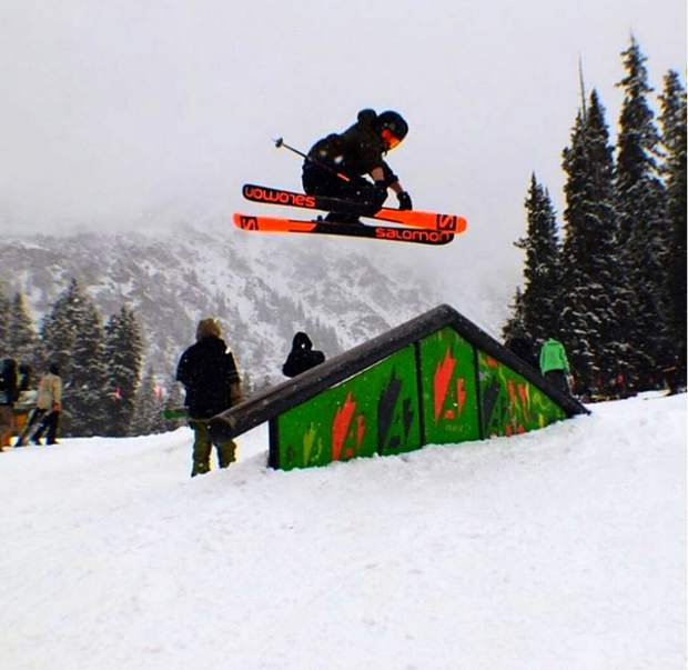 Team Breck's Noah Begley airs off the up-down rail at Arapahoe Basin.
