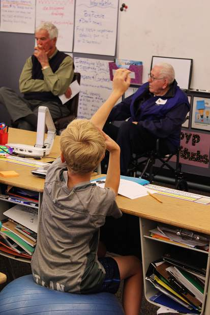 Students at Frisco Elementary School had the opportunity to ask veterans in Summit County questions about their service. Mike Crawford (left) and Dr. Ed Crane (right) talked to a fifth grade class on Veteran's Day.