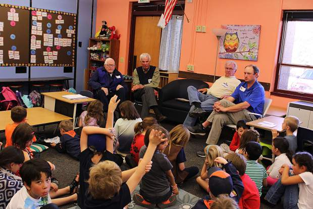 From left, Dr. Ed Crane, Mike Crawford, Mick Bixler and Sam Devlin talked to the first graded classes at Frisco Elementary about their time in the military.