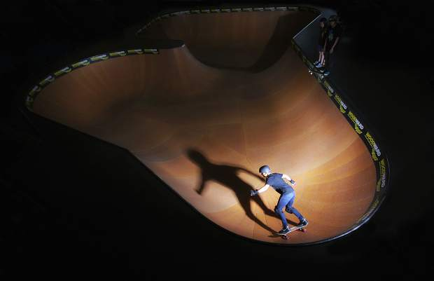 A skateboarder rides through the big bowl at the Woodward Copper Barn. Woodward hosts a pre-season round of free barn sessions, music, skate demos and jam competitions on Nov. 12.
