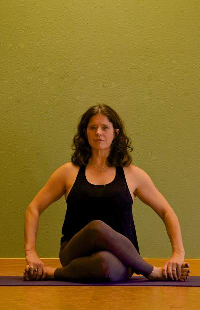 Shoelace Yin yoga pose for joint mobility.