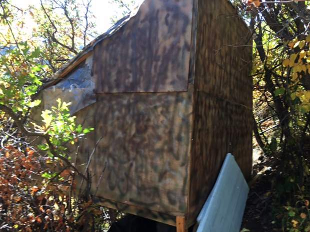 A shack built on Aspen Mountain above the Shadow Mountain Condominiums featured insulation, a locking front door, a foundation and a window.