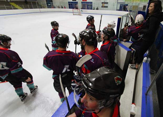 The Breck Vipers bench during a home game last season. The Vipers traveled to Denver on Nov. 26 to face the Pikes Peak Vigilantes and came away with a win, 7-3, to even the season record at 1-1.