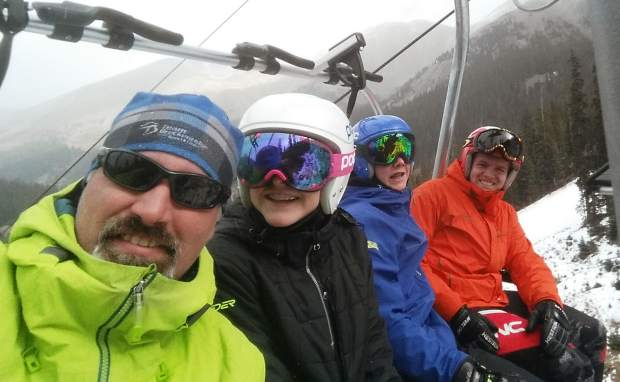 Team Breck alpine coach Brian Peterson (left) on the chairlift with three of his athletes last season. After 22 years of coaching, Peterson moves into a new fulltime position with Team Breck as ability coach for U-16 ad U-19 athletes.