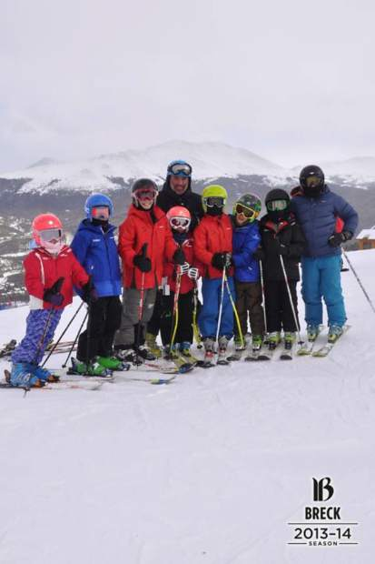 Team Breck alpine coach Brian Peterson with ski club athletes in 2014. This season, the ski club veteran takes over as fulltime ability coach for the club's U-16 and U-19 athletes.