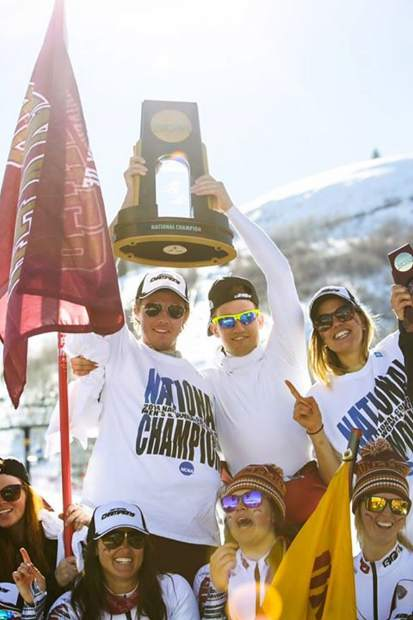 Taylor Shiffrin lofts the NCAA Skiing Championship trophy after the University of Denver team won in 2016 at Steamboat Springs. Shiffrin, the older brother of Olympic gold medalist Mikaela Shiffrin, recently joined Loveland Ski Club this season for his first year as a ski club coach.