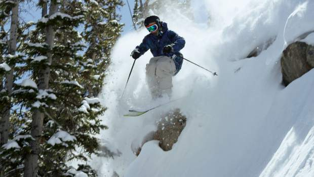 Front Range native Aaron Blunck drops a cliff at his hometown resort of Crestes Butte while filming for Warren Miller's