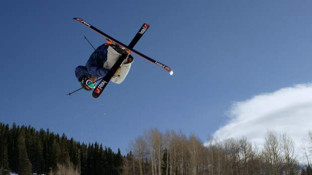 Colorado native Aaron Blunck filming in the Crested Butte halfpipe for Warren Miller's latest release,