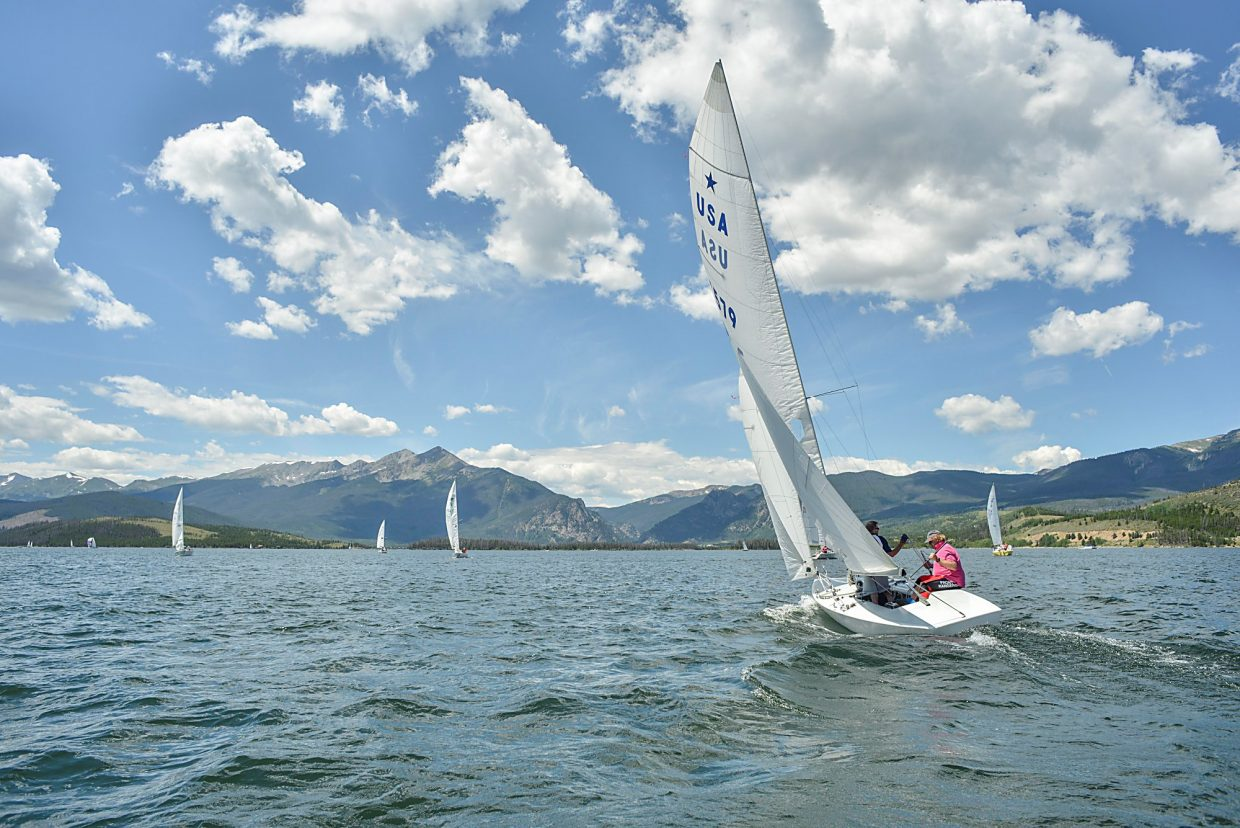 A Star Class boat slices through gentle chop on Lake Dillon during the first heat of racing at the Dillon Open Regatta in 2015. The event returns this year from Aug. 5-7 with two days of racing on Lake Dillon, from noon to 4 p.m. on Saturday and Sunday.