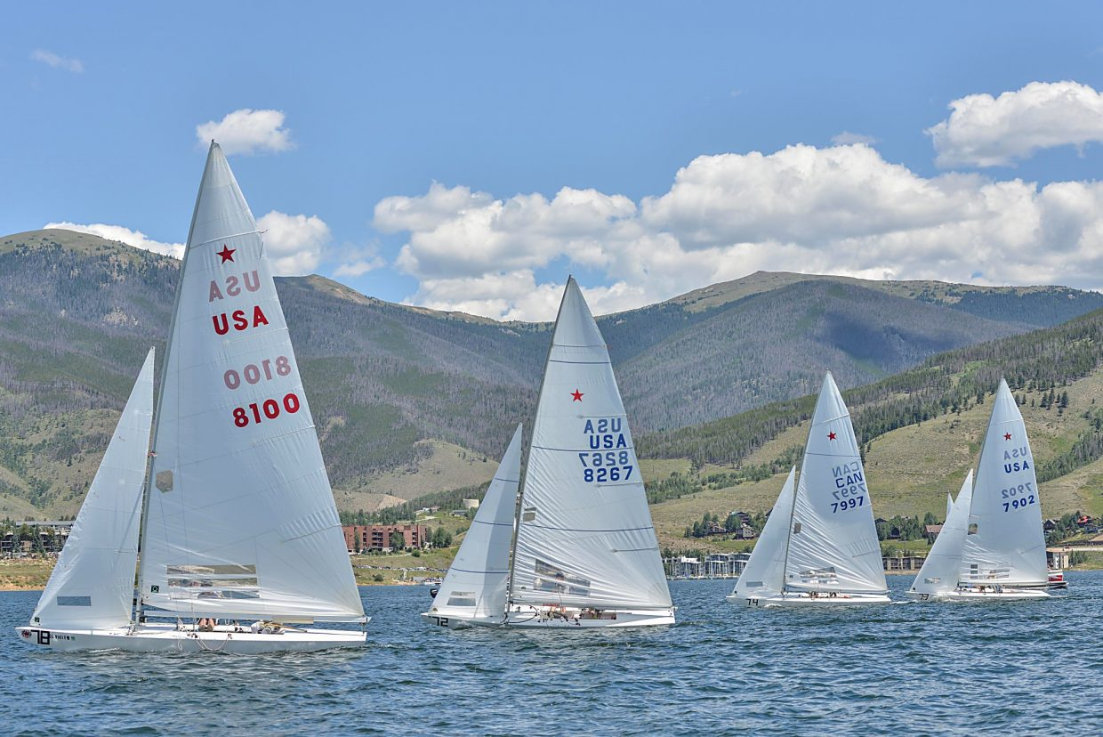 The first round of Star Class boats lines up for the starting flag at the Dillon Open Regatta in 2015. The event returns this year from Aug. 5-7 with two days of racing on Lake Dillon, from noon to 4 p.m. on Saturday and Sunday.