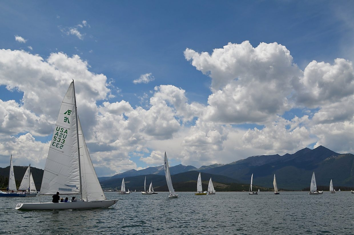 A grouping of boats at the Dillon Open Regatta in 2013, an annual sailboat race dating back to the early '70s. Roughly 100 sailboats will take to the waters next weekend, Aug. 5-7, for two days of racing split between 11 keelboat classes and another five other classes.