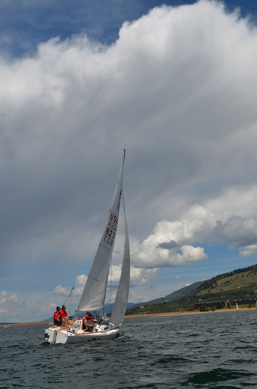 A boat tacks into the wind at the 2013 Dillon Open Regatta on Saturday. Roughly 100 sailboats will take to the waters next weekend, Aug. 5-7, for two days of racing split between 11 keelboat classes and another five other classes.
