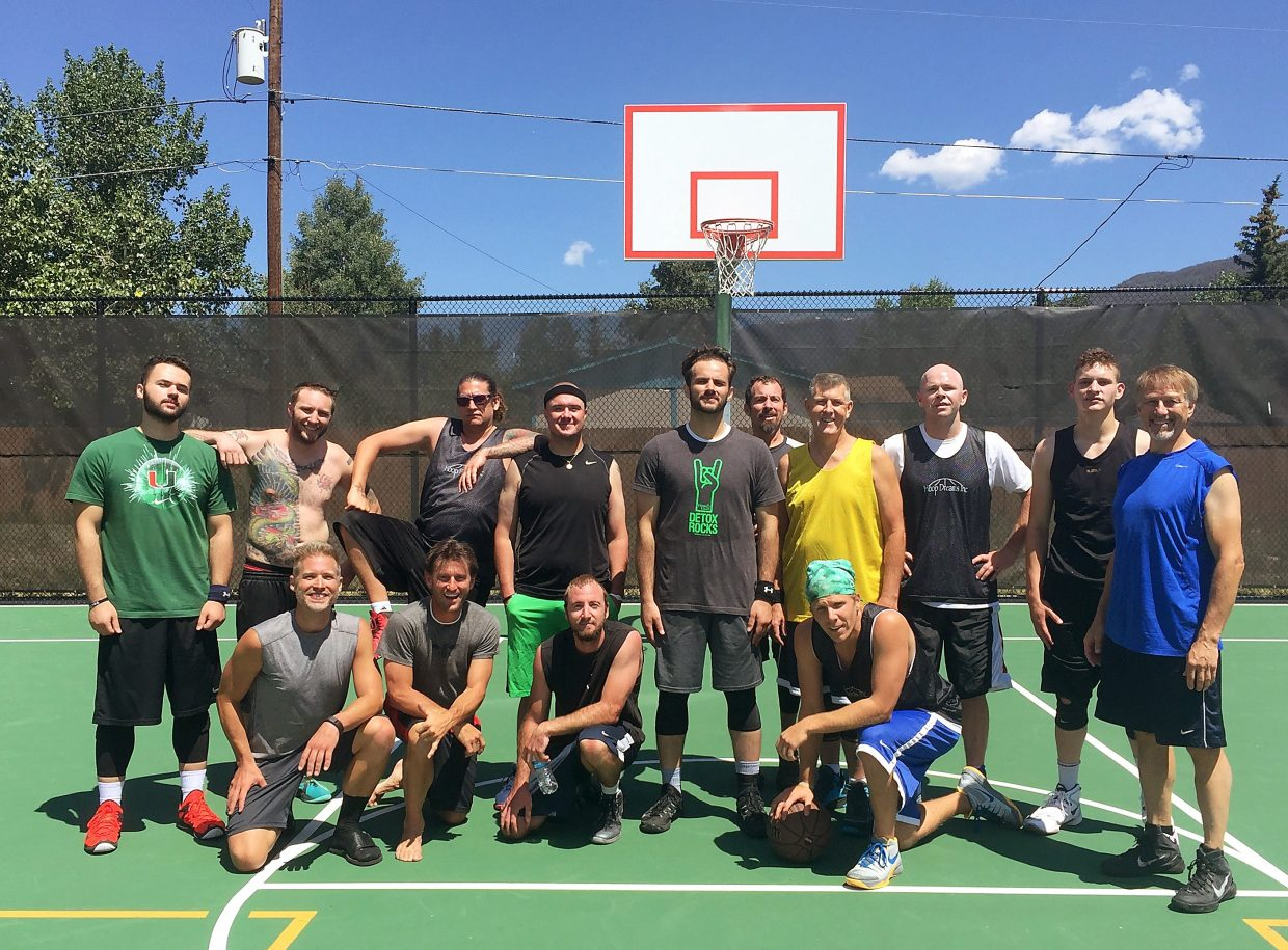 The five teams at the annual 3 On 3 At the Summit basketball tourney, held at the outdoor basketball courts at the Silverthorne rec center to benefit the Summit High School basketball program. The Hoop Dreams team won after at least five rounds of play for all teams.