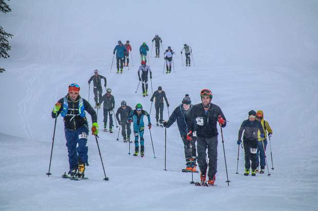 Competitors skin up High Noon at Arapahoe Basin during the first race of the winter-long Rise and Shine Rando series. The next event is held Dec. 13.