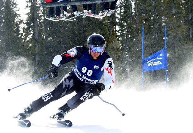A racer weaves through gates on a powdery course during the Copper Business League race series giant slalom Feb. 18. The series returns for 2016 on Jan. 12 with bi-monthly Thursday races.