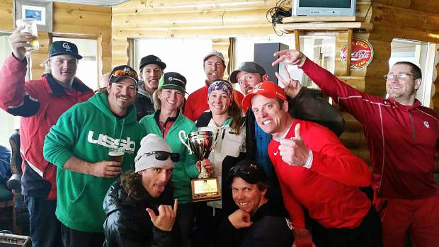 Defending Copper Mountain Business League Race Series champs Jensco Red after winning the 2016 title. The team, led by Frisco resident Jeanette Saylor (center, with trophy), has won the team title every season since 2009.