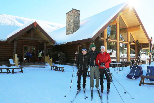 Gene, Matthew and Josh Dayton pause during a brief cross-country ski outing at the Breckenridge Nordic Center several years back.