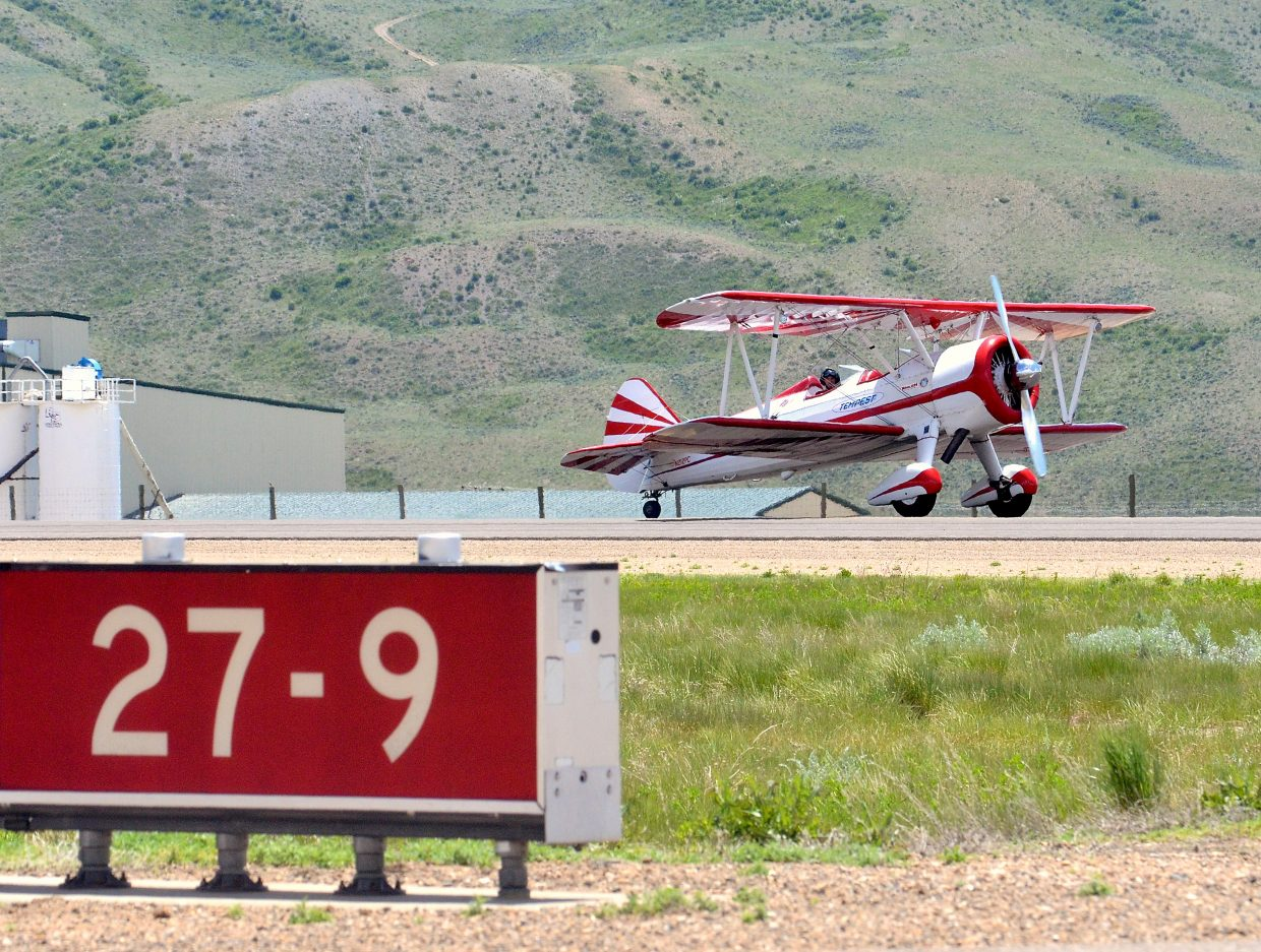 Airshow pilot Gary Rower taxis off of the sole runway at the Kremmling Airport, home base for pilots in the Dillon Airshow on June 11. The eight airshow pilots will take off from the runway in a slew of craft, from Rower's WWII-era PT-17 biplane to a micro jet.