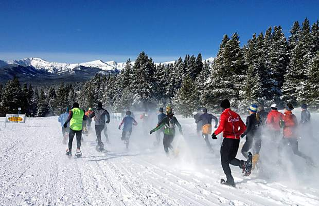 Racers surge out of the start at the 2014 Tennessee Pass Cookhouse/Colorado State Snowshoe Championships. The race returns this February as part of the Pedal Power Winter Race Series.