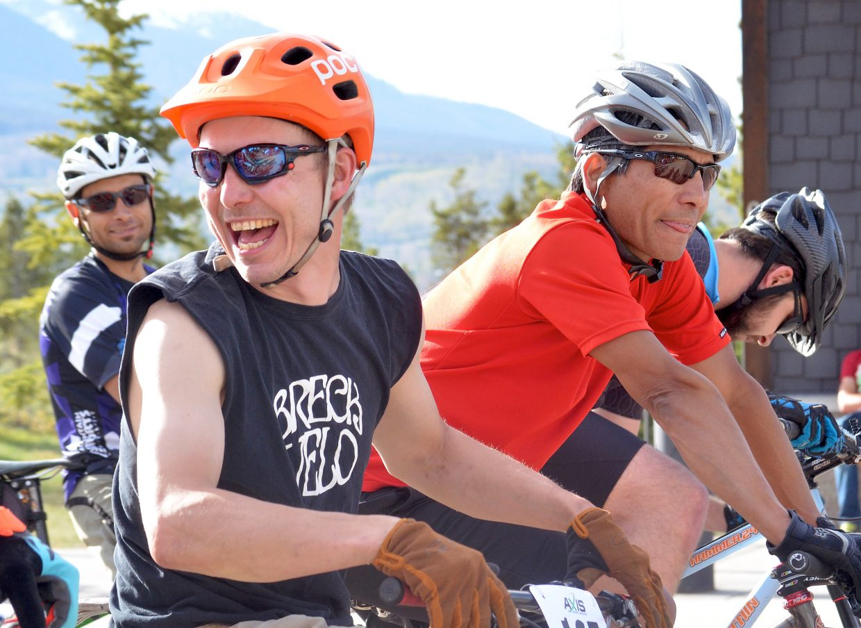 Cyclists talk and laugh at the start line before the 2016 Frisco Roundup at the Frisco Peninsula on June 1. The race kicked off the 30th anniversary season for the local mountain bike series.