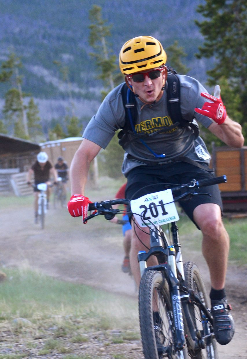 Bobby Paulus takes time for the camera during the 2016 Frisco Roundup at the Frisco Peninsula June 1. The race kicked off the 30th anniversary season for the local mountain bike series.
