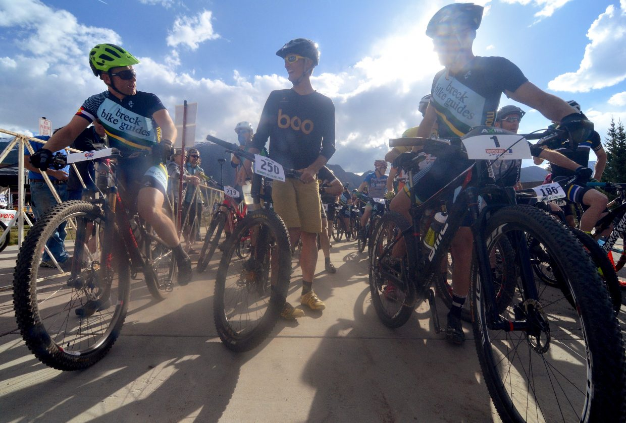The podium, pre-race: Local cyclists (from left) Nick Truitt, Nick Frey and Mike Schilling chat before the start of the men's pro division at the 2016 Frisco Roundup. The trio went one, two, three in the men's division. The race kicked off the 30th anniversary season for the local mountain bike series.