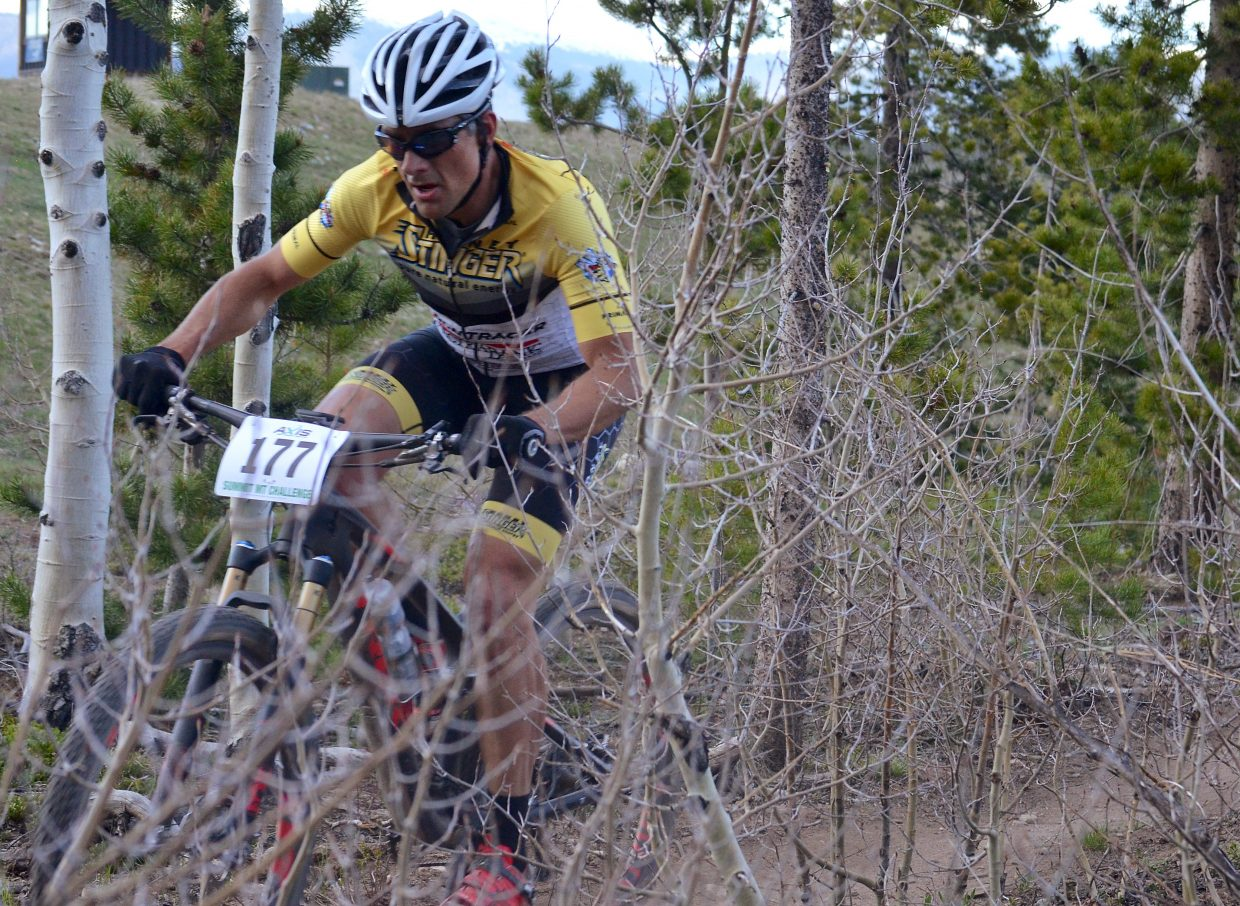 Men's pro division racer Ezekiel Hersh weaves through still-bare aspens on the Frisco Peninsula during the 2016 Frisco Roundup on June 1. The race kicked off the 30th anniversary season for the local mountain bike series.