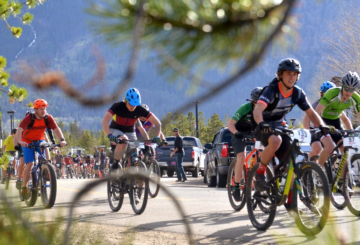 A group of riders leaves the Frisco Peninsula start line for the2016 Frisco Roundup on June 1. The race kicked off the 30th anniversary season for the local mountain bike series.