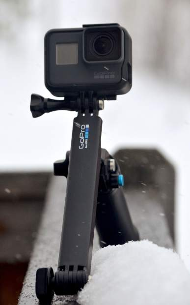 The GoPro Hero 5 Black edition with extendable mount.