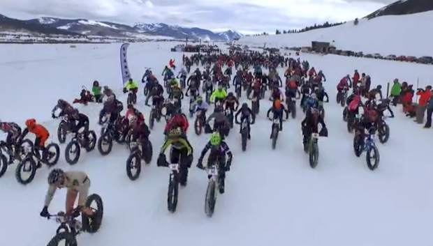 The start line at the inaugural Fat Bike World Championships in Crested Butte for
