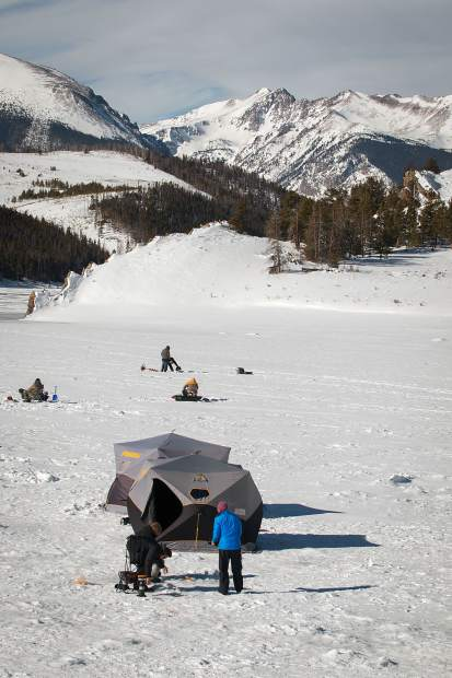 Ice fishing was a popular activity for both locals and visitors at Dillon Reservoir over the holidays.