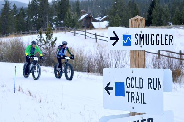 Riders cruise along groomed trails about halfway through the inaugural Fat Bike Open at Gold Run Nordic Center on Dec. 5. The Nordic center opened snowshoe trails to fat bikes last season and now allows bikes on several groomed trails during the week.