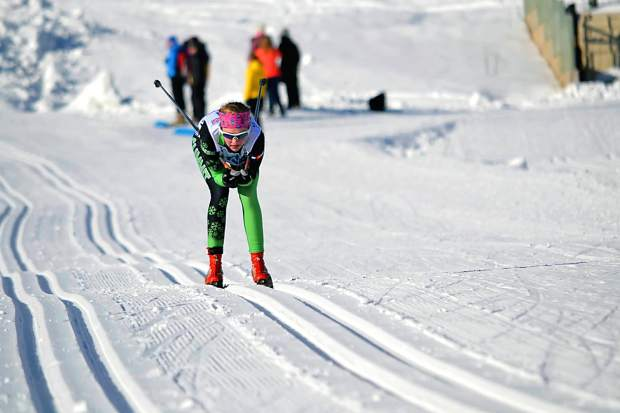 University of Denver skier Taeler McCrerey at a past Nordic race. The Summit County native joins more than 300 collegiate and ski club athletes this weekend for a series of races at Gold Run Nordic Center in Breckenridge.