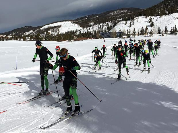 Summit Nordic Ski Club athletes train on a trail at Gold Run Nordic Center in Breckenridge in December. The Nordic center and club host a Nordic Junior Nationals qualifier this weekend, with a 10K individual freestyle race today (Dec. 17) and a 5K mass-start classic race tomorrow (Dec. 18).