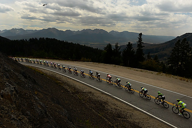 SILVERTHORNE, CO - AUGUST 18: The peloton makes it's way down Ute Pass Road heading towards Silverthorne in Stage 2 of the USA Pro Challenge Steamboat Springs, Colorado on August 18, 2015. The race started in Steamboat Springs and ended at Arapahoe Basin. Brent Bookwalter, USA, of BMC Racing team won the stage and took the yellow jersey from his teammate and Boulderite Taylor Phinney. (Photo By Helen H. Richardson/ The Denver Post)