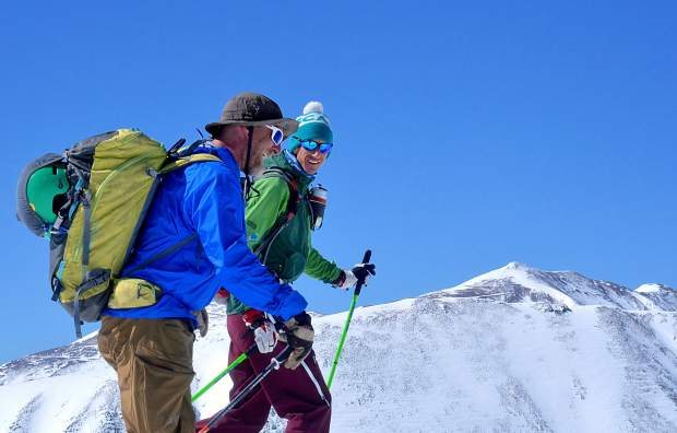 Fritz Sperry (front) and Teague Holmes skin from the false summit to true summit on Quandary Peak (14,265 feet). The 14er is home to four established backcountry lines: the East Slopes, Cristo Couloir, North Gullies and the North Couloir.