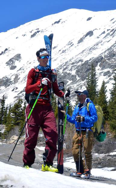 Teague Holmes (left) and Fritz Sperry unstrap for the 1.5-mile bootpack from the base of Cristo Couloir back to the Quandary Peak trailhead, with Quandary high above in the background. The 14,265-foot peak offers several backcountry ski lines of 3,000-plus vertical feet.