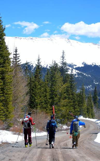 Colorado skiers (from left) Teague Holmes, 69-year-old Larry Hall and Fritz Sperry walk down the road from the Cristo Couloir runout to the Quandary Peak trailhead. A well-deserved Andy Griffith moment, indeed.