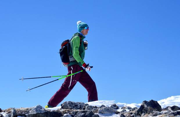 Summit County local Teague Holmes skins along a ridge during a trip to Quandary Peak (14,265 feet) in early May.