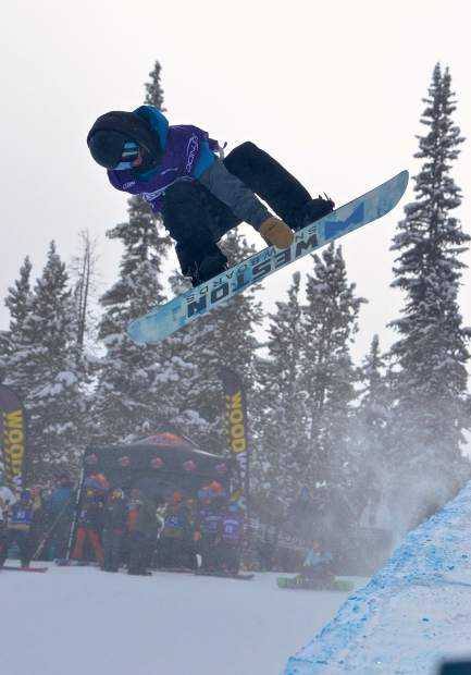 A snowboarder spins a 720 during practice for the U.S. Revolution Tour at Copper Mountain on Dec. 7. Competition begins today with snowboarding and ends on Saturday with freeski superpipe.